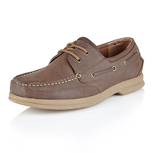 lacci a Shoe Avenue uomo Brown da con motivo mocassino scarpe da nappe da con uomo scarpe barca gIq7g