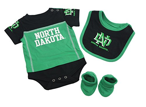 Outerstuff North Dakota Fighting Hawks Baby Clothing, University 3 Piece Creeper Bib Booties Apparel Set ()