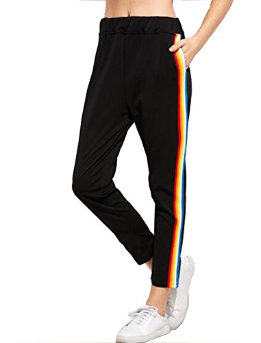 Roshop Womens Stripes Activewear Jogger Comfortable Soccer Athletic Training Sweat Track Pants