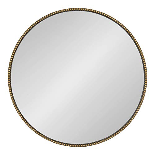 - Kate and Laurel Gwendolyn Decorative Round Wall Mirror with Beaded Gold Leaf Frame, 23.6-Inch Diameter