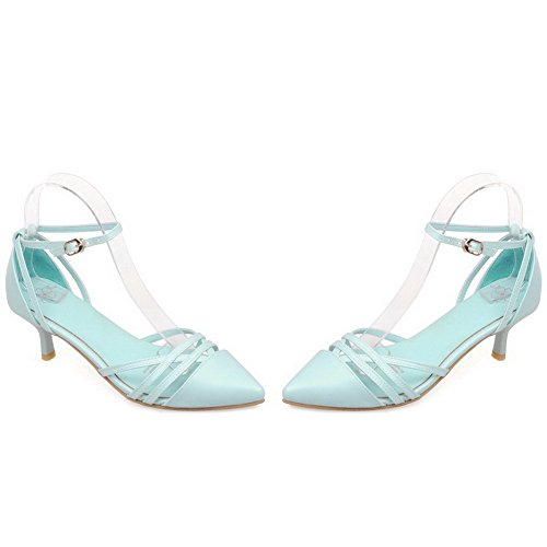 Closed Shoes Buckle Odomolor Solid Blue Pumps Pu Pointed Kitten Heels Women's Toe v4xwx1Eq
