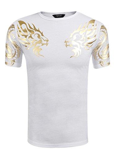 COOFANDY Men's Fashion Short Sleeve Pullover Printed White T-Shirt Casual Crewneck Summer Cotton Tees (Shirt White Dragon)