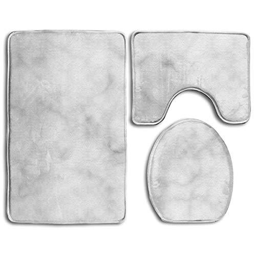 CoolToiletLidCoverCC Bath Mat,3 Piece Bathroom Rug Set,Gray Marble Non Slip Toilet Seat Cover Set,Large Contour Mat,Lid Cover for Men/Women ()