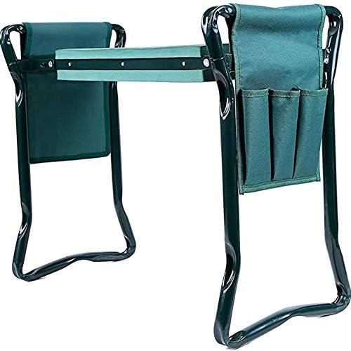 Deusa Kniebank für den Garten, robust, zusammenklappbar, mit Werkzeugtasche, weiches EVA-Kniepolster, tragbarer Kniehocker für Gartenarbeit