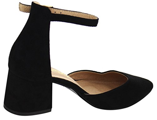 Dbdk Mujeres D'orsay Closed Pointed Toe Tobillo Strappy Chunky Block Heel Pump Black