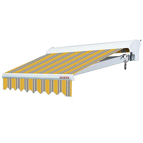 ADVANING 12'x10' Motorized Patio Retractable Awning | Luxury Series | Premium Quality, 100% Solution-Dyed European Acrylic UV Sun Shade, Color: Sunny Yellow Stripes, EA1210-A423H2
