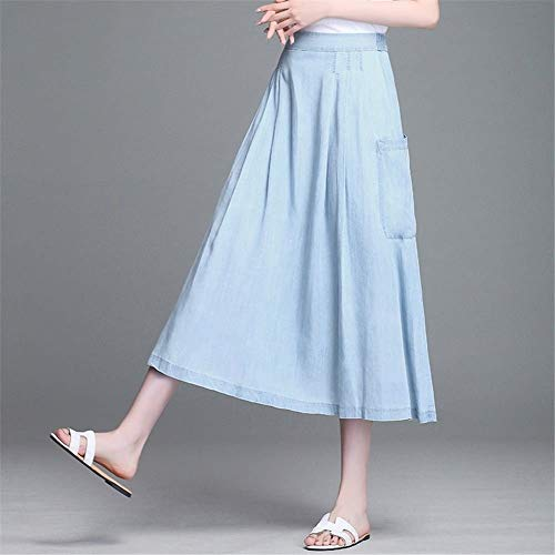 Gonna Donna Chic Lunga Fashion A Mode Blu Beach Girls Casual Di Skirt Summer Primavera Marca Vita Mezza RqqdEwr