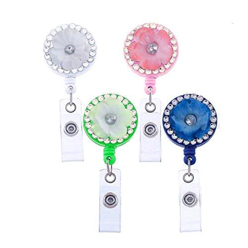 - Surlove 4 Packs Flower RN Badge Reel with Alligator Clip ID Name Tag Badge Holder