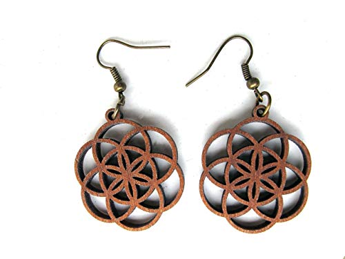 (Wooden Earrings Small Seed of Life, The energy of Geometry Art, Laser Cut Jewelry by GoaLaserFactory)