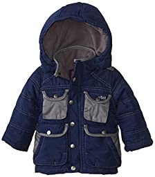 YMI Baby Boys\' Jacket Bubble with Contrasting Pleather Pocket and Collar Trim, Navy, 24 Months