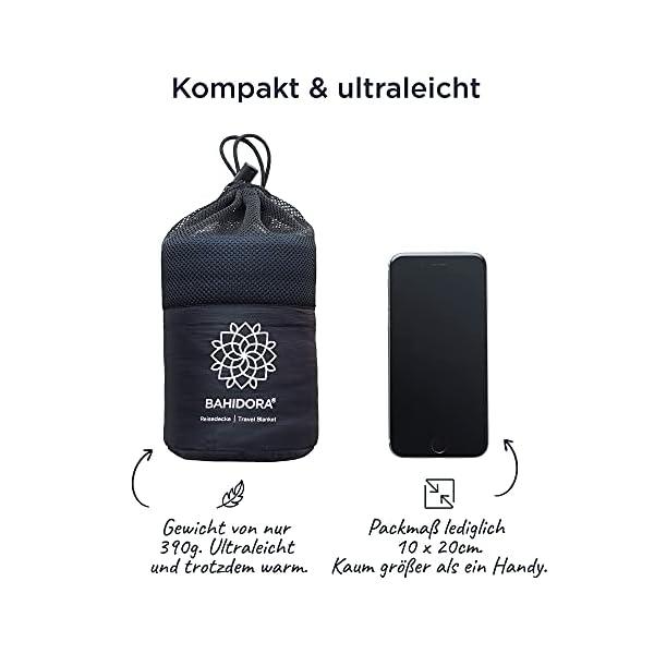 Bahidora Reisedecke. 200x150cm. Ultraleichte dünne Decke aus Coolmax Material - ideal für Reisen. Geringes Packmaß…