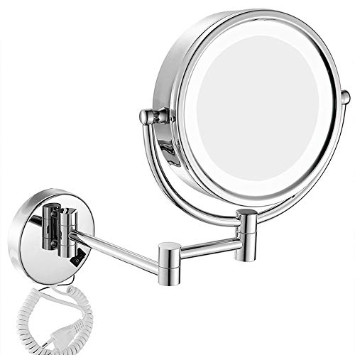ZKKK Makeup Mirror,3x-10x Magnification Wall Mounted Mirrors LED Lighted Bathroom Mirror with 360° Rotatable and Adjustable Extendable Brass and Stainless Steel,Silver,7X