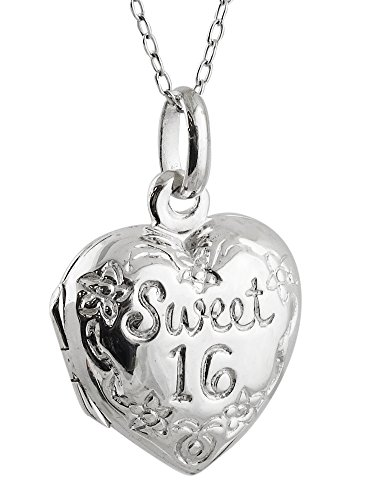 (Sterling Silver Sweet 16 Birthday Heart Photo Locket Necklace, 18