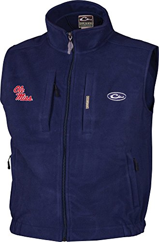 Drake Waterfowl Men's Ole Miss Windproof Fleece Vest (Navy, XL) ()