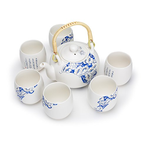 China Tea Set Porcelain Ceramic Teapot,Tea Cups LiBai's Poetry
