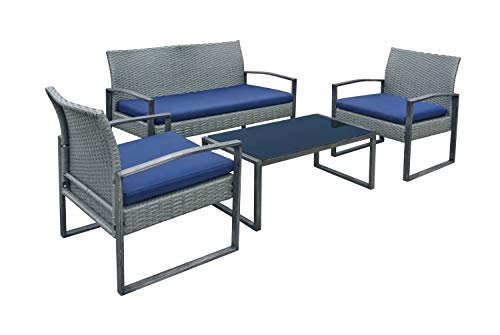 Stellahome Wicker Patio Furniture Outdoor Conversation Sets 4 Piece Cushioned Chairs Table Bistro Set for Porch, Poolside or Balcony (Outdoor Patio Chat Set)