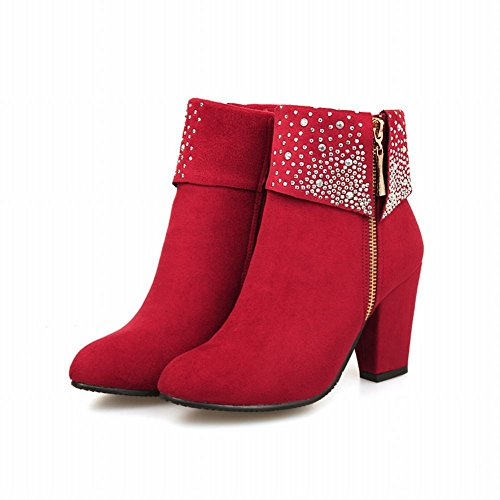 Chic Chunky Heel Red Boots Fashion Carol Rhinestone Shoes High Dress Zipper Women's gYCwInw14