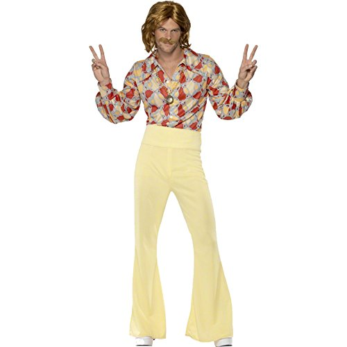 Authentic 70s Guy Costumes For Men (Smiffy's Men's 1960's Groovy Guy Costume, Shirt and High Waisted Flared pants, 60's Groovy Baby, Serious Fun, Size L, 39436)