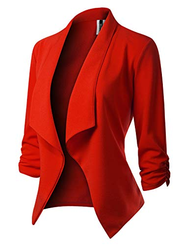 MixMatchy Women's [Made in USA] Classic 3/4 Gathered Sleeve Open Front Blazer Jacket (S-3XL) Red 2XL