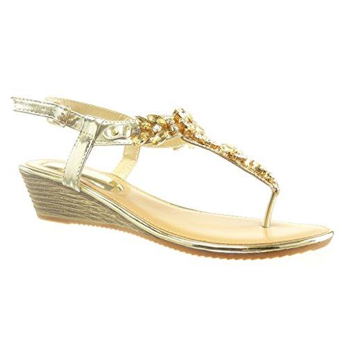 Angkorly - Chaussure Mode Sandale salomés ouverte femme bijoux brillant Talon compensé 2 CM - Or