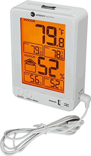 Ambient Weather WS-2063-W-P Indoor Temperature and Humidity Monitor with Probe and Backlight by Ambient Weather