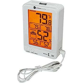 Ambient Weather WS-2063-W Indoor Temperature & Humidity Monitor with Backlight