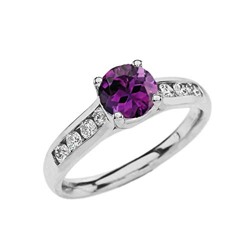 - Elegant 10k White Gold CZ Channel-Set Personalized Solitaire Genuine Amethyst Engagement Proposal Ring (Size 6.75)