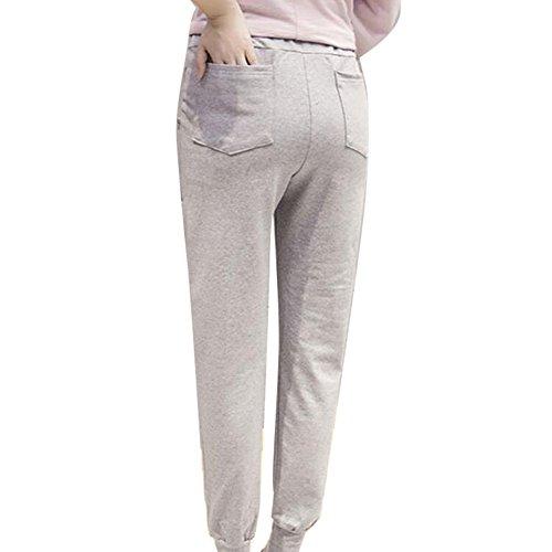 hibote Embarazada Sport Casual Pantalones de gran tamaño Care Belly Pant Gris claro