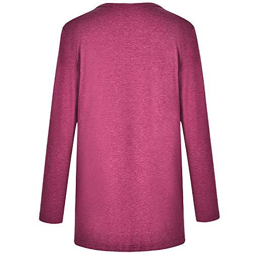 Haut S Tunique T Lache Printemps Large Design Automne Col Pullover 2XL Coton Manches Croix Longues 6 Casual Tunique Tops Rond Shirt Hibote Blouse Hiver Femme TfwqF88B