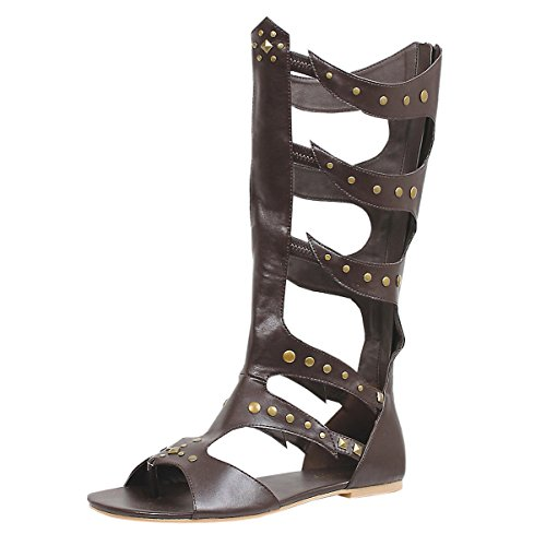 [Men's Gladiator Sandal Knee-High Caged with Rivet Detail and Rear Zipper Brown Size: Medium] (Grecian Sandals Costume)