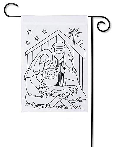 (Carson Applique Color Me Garden Flag - Nativity Scene)
