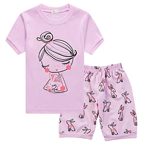 Little Hand Bunny Pajamas for Girls Pjs Rabbit Costume Toddler Summer Outfits Short Sleepwear Sets 6T