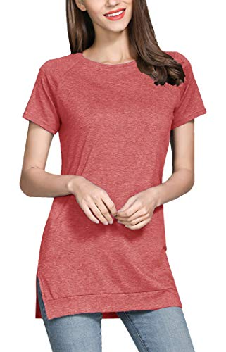 GSVIBK Womens Short Sleeve Side Split Tunic Round Neck Casual Soft Blouse Top T-Shirt 212 Pink S