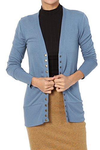 TheMogan Women's Snap Button V-Neck Long Sleeve Knit Cardigan Titanium 1XL ()