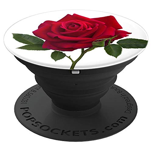 (Cute Single Red Rose Buds Flower So Pretty Stem On White - PopSockets Grip and Stand for Phones and Tablets)
