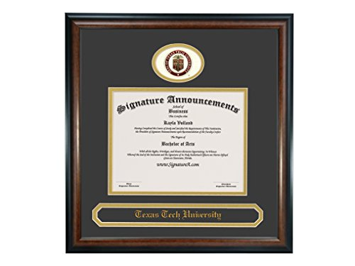 Signature Announcements Texas Tech University (TTU) Undergraduate and Graduate Graduation Diploma Frame with Sculpted Foil Seal & Name (Matte Mahogany, 20 x 20) by Signature Announcements