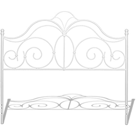 Rhapsody Metal Headboard With Curved Grill Design And Finial Posts Glossy White Finish King