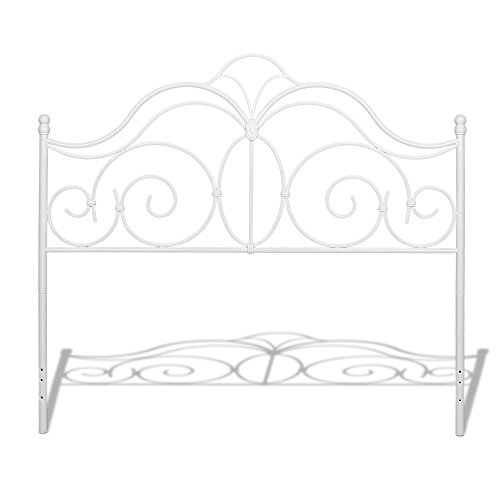Fashion Bed Group Rhapsody Metal Headboard Panel with Delicate Scrolls and Finial Posts, Glossy White Finish, (Fashion Bed Group Brass Bed)