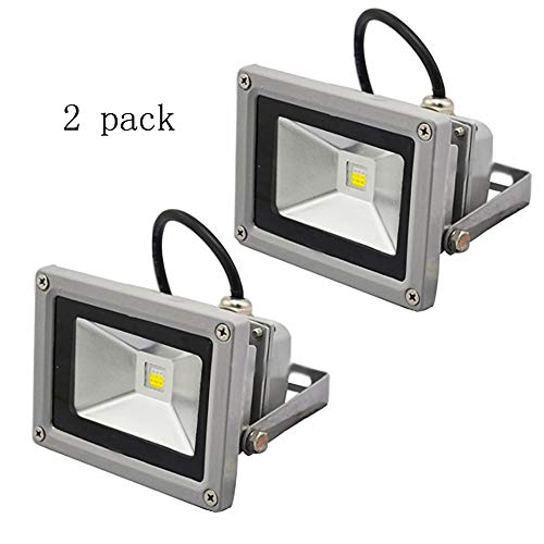 New Two Packs 10W Waterproof LED Flood Light RGB with 24Key IR Remote and US 3-Plug, IP65 Waterproof 16 Colors 4 Modes Dimmable 10w rgb led flood light