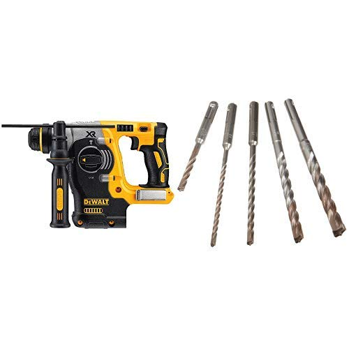 DEWALT DCH273B 20v Max Brushless SDS Rotary Hammer Tool Only with DEWALT DW5470 5-Piece Rock Carbide SDS Plus Hammer Bit Set