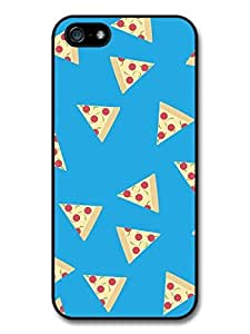 Pizza Hipster Grunge Pattern on Cute Blue Stylish Fashion Design case for iPhone 5 5S