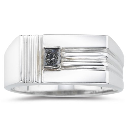 Vogati 0.08 Cts Black Diamond Mens Ring in Silver