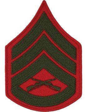 USMC Chevron Green on Red (Pair) (Male, E-6 Staff Sergeant) (Marine Corps Chevron)