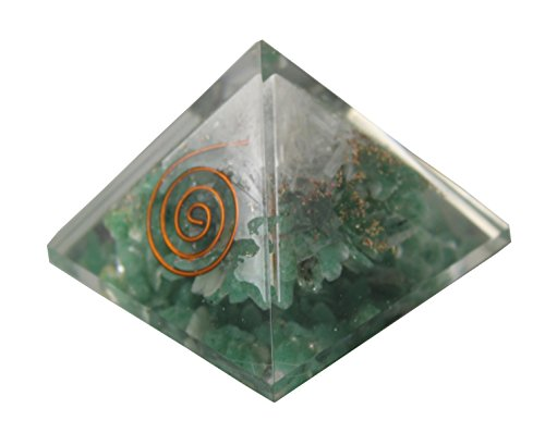 Charged Chakra New Orgone Green Aventurine   Selenite Pyramid Crystals Gemstones Copper Metal Mix Reiki Chakra