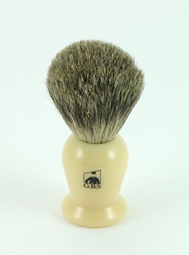 GBS 100% Pure Badger Bristle Shaving Brush Ivory Handle (Ivory Pure Shaving Brush)