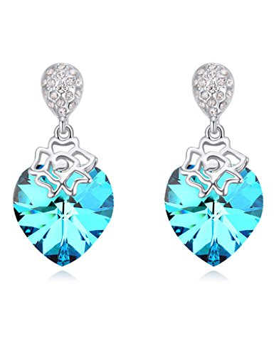 FANSING Costume Jewelry Valentine's Day Gift Drop Dangle Rose Chandelier Earrings for Womens Heart Blue Crystal (Best Halloween Dog Costumes 2017)