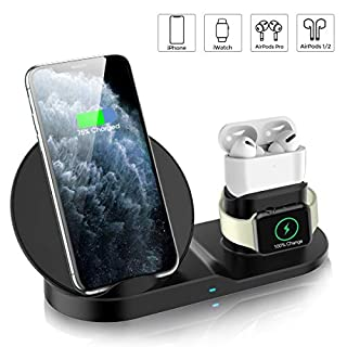Wireless Charger, QI-EU 3 in 1 Fast Charging Station Compatible with Apple Watch and AirPods Pro, Qi-Certified Wireless Charging Stand for iPhone 11/11pro/11pro Max/X/XS/XR/Xs Max/8/8 Plus