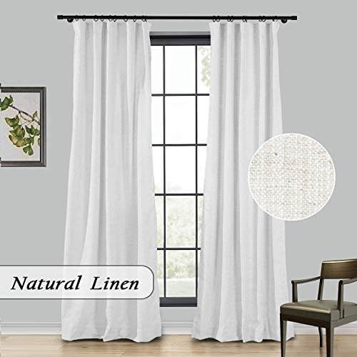 TWOPAGES Extra Wide Beige White Heavyweight Thick Natural Faux Linen Curtain for Sliding Glass Door, 120 W x 96 L Back Tab Light Filtering Curtain, 1 Panel, 4 in 1 Header