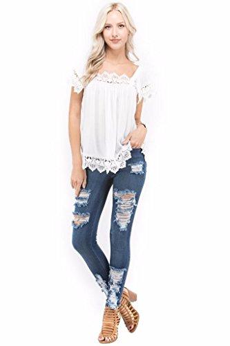 Crinkled Silk Tunic (Jvini Womens Loose Crochet Lace Short Sleeve Swing Blouse Top Denim White M)