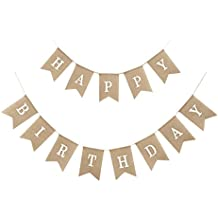 Uniwish Happy Birthday Banner Party Decorations, Rustic Burlap Bunting Swallowtail Flags, 2 in 1